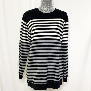 Old Navy Black Gray Striped Sweater Long Sleeve